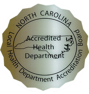 The emblem stating our department is accredited by the state of North Carolina.