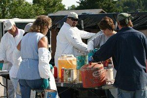 People Bringing Materials for Household Hazardous Waste Day